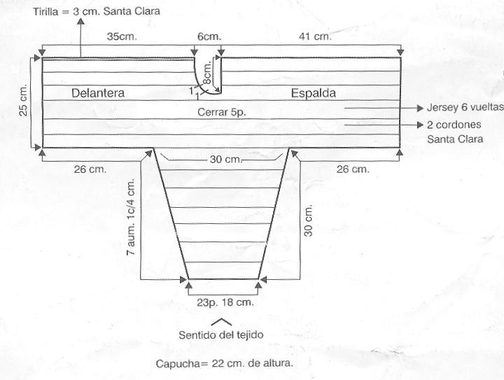 Manualidades » Tejer campera con capucha