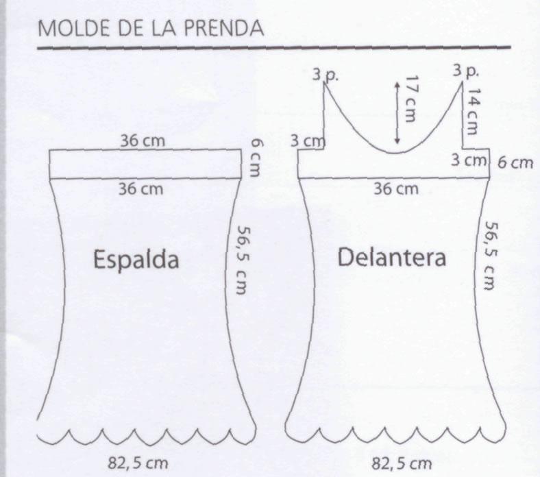 la prenda con el punto del diagrama 4 y colocar arandelas y cintas